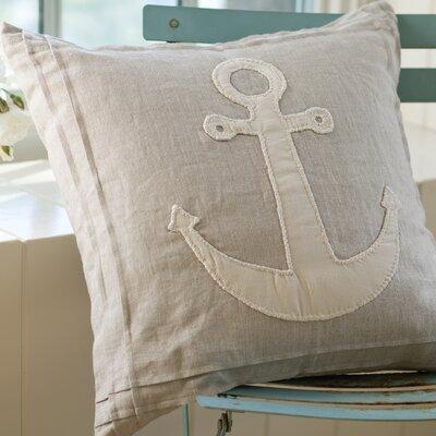 Natural Anchor Linen Throw Pillow