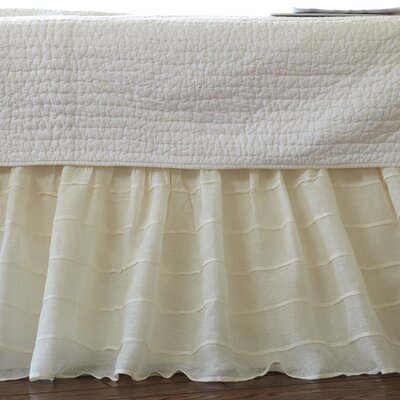 Tucked Linen Bed Skirt Size: Full, Color: Cream