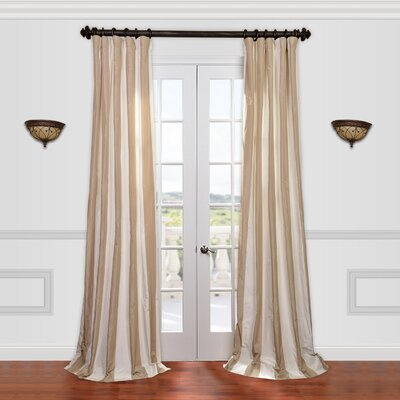 "Half Price Drapes Cappuccino Faux Silk Taffeta Stripe Curtain Single Panel - Size: 108"" H x 50"" W at Sears.com"