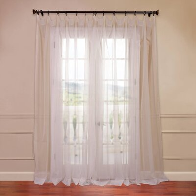 Half Price Drapes Doublewide Solid Voile Sheer Single Curtain Panel - Color: Off-White, Size: 108