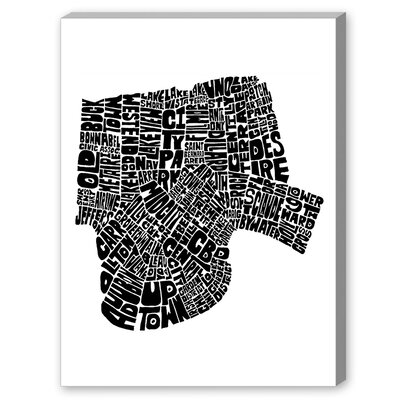 Mapart New Orleans Textual Art on Canvas in Black and White Size: 20