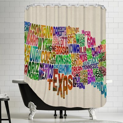Polyester US Word Map Shower Curtain