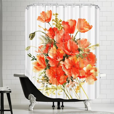 Polyester Flowers Shower Curtain