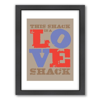 Visual Philosophy Love Shack Red-Blue Framed Textual Art A80P071F1824