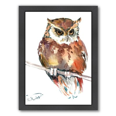 Owl 4 by Suren Nersisyan Framed Painting Print Frame Color: Black