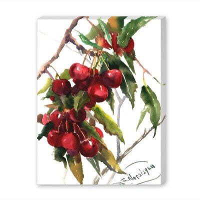 "Cherries by Suren Nersisyan Painting Print on Wrapped Canvas Size: 20"" H x 16"" W x 1.5"" D A108P137C1620"