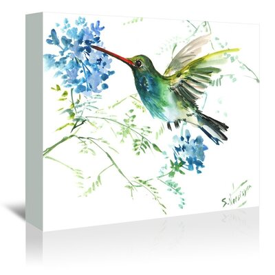 Hummingbird Flowers by Suren Nersisyan Painting Print on Gallery Wrapped Canvas Size: 20