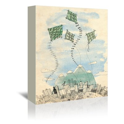 """Sweet William Four Happy Kites Graphic Art on Gallery Wrapped Canvas Size: 20"""" H x 16"""" W x 1.75"""" D"""
