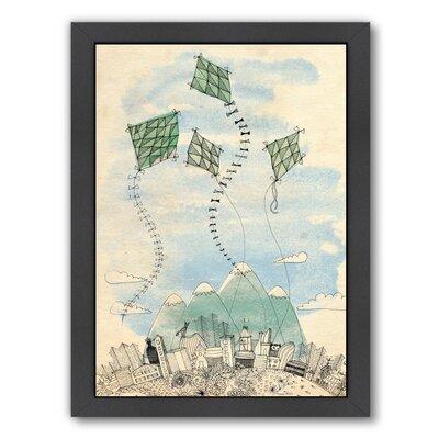 Paula Mills 4 Happy Kites Framed Painting Print Frame Color: Black