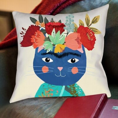 Frida Catlho Cotton Throw Pillow
