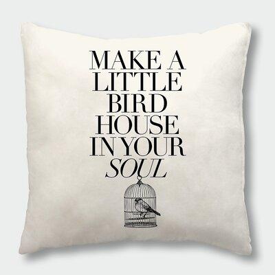 Make a Little Birdhouse Throw Pillow Size: 16