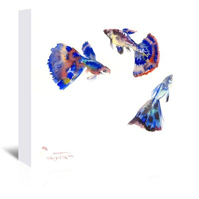 Guppy Aquarium by Suren Nersisyan Painting Print on Wrapped Canvas Size: 20