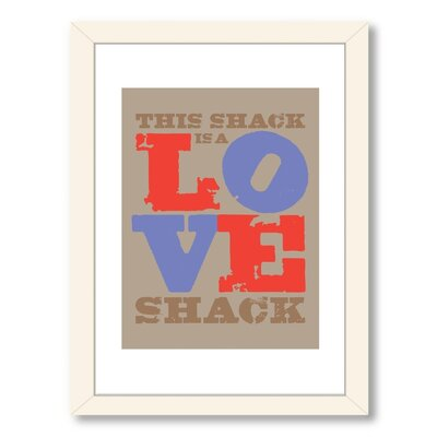 Visual Philosophy Love Shack Red-Blue Framed Textual Art A80P071WF1824