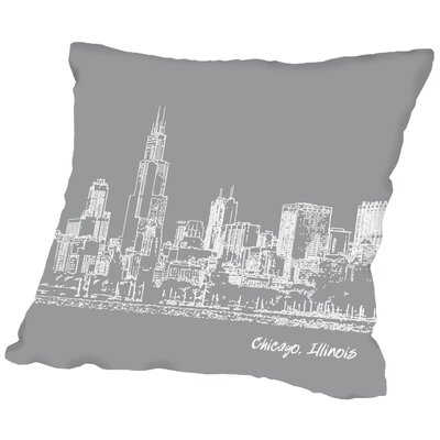 Skyline Chicago Throw Pillow Color: Grey, Size: 20