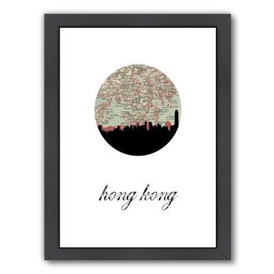 """PaperFinch Designs Hong Kong Map Skyline Framed by Amy Braswell Graphic Art Size: 16.5"""" H x 13.5"""" W x 1.5"""" D A161P093F1114"""