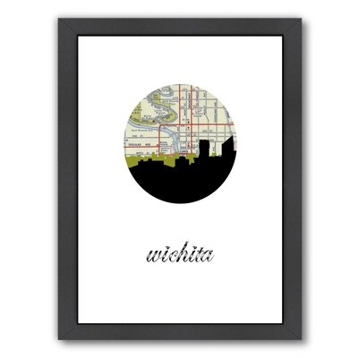 PaperFinch Designs Wichita Map Skyline Framed by Amy Braswell Graphic Art Size: 26.5