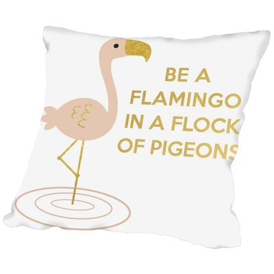 Peach & Gold Be a Flamingo Throw Pillow Size: 20 H x 20 W x 2 D