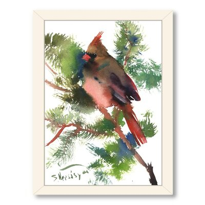 Americanflat Female Cardinal Bird by Suren Nersisyan Framed Painting Print - Frame Color: White