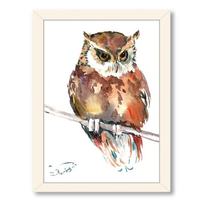 Owl 4 by Suren Nersisyan Framed Painting Print Frame Color: White