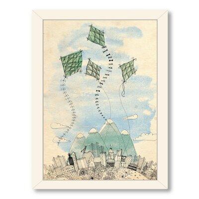 Paula Mills 4 Happy Kites Framed Painting Print Frame Color: White