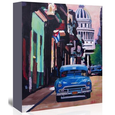 'Cuban Oldtimer Street Scene in Havanna Cuba with Buena Vista Feelinng' by M Bleichner Original Painting on Wrapped Canvas Size: 14