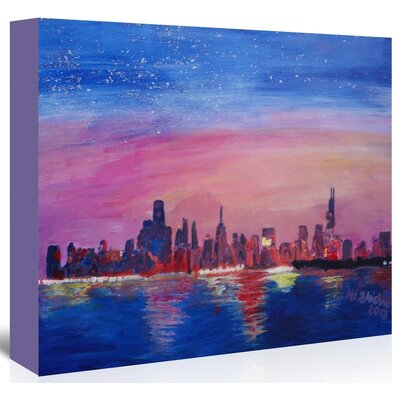 'Chicago Sunset Blue' by M Bleichner Original Painting on Wrapped Canvas Size: 24