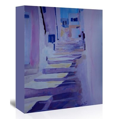 Enchanting Mykonos Greek Islands Stairs' by M Bleichner Original Painting on Wrapped Canvas Size: 20