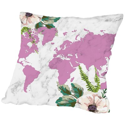 Americanflat Floral Burst Marble Map Poly Poplin Throw Pillow - Size: 18