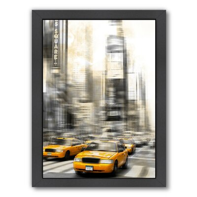 'City Art Times Square Yellow Cabs' by Melanie Viola Framed Graphic Art Size: 26.5