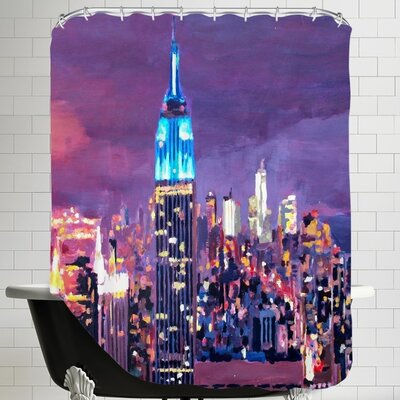 Markus Bleichner Ocampo New City Empire State Buildingg Feeling Like A Blue Giant Shower Curtain