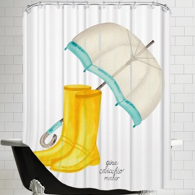 Gina Maher Janney Rain Boots Shower Curtain