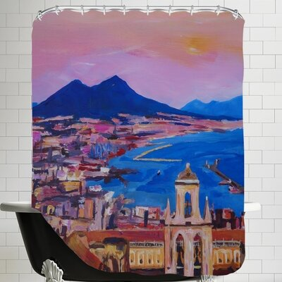 Markus Bleichner Vaden City of Naples Italy with Mount Vesuvio and Gulf New Shower Curtain