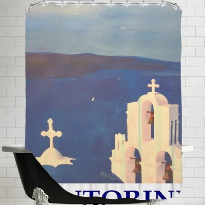 Markus Bleichner Santorini Greek Island Classical Poster Shower Curtain