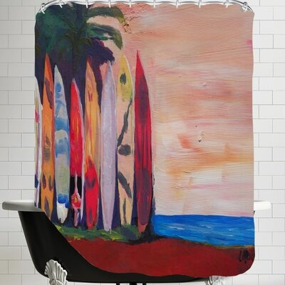 Markus Bleichner Surf Board Fence Wall at the Seaside Shower Curtain