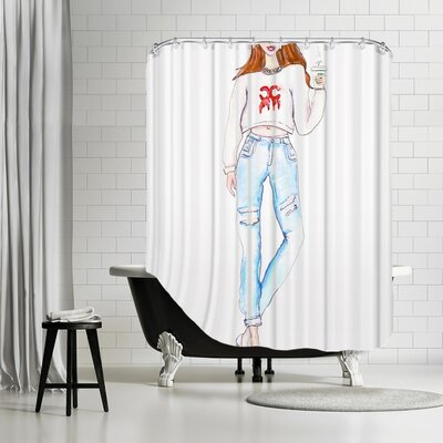 Palladium Coffee Drip Shower Curtain