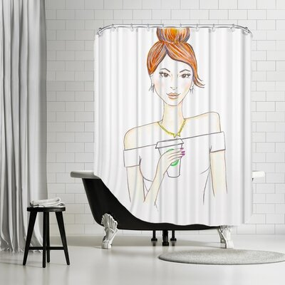 Palladium Coffee Brunette Shower Curtain