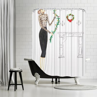 Palladium Black Lace Shower Curtain