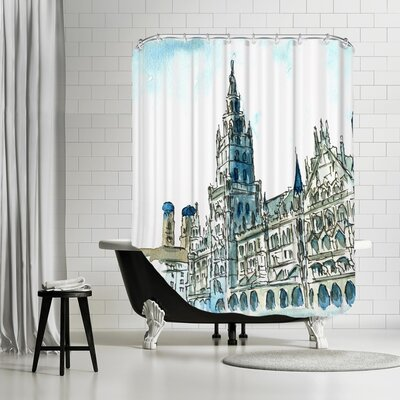 Markus Bleichner Michelson Munich City Hall Aquarell Shower Curtain
