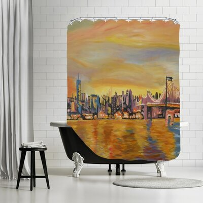 Markus Bleichner Reedy Golden New City Skyline Leinwand Shower Curtain