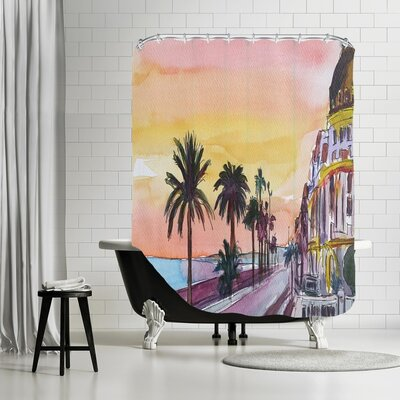 Markus Bleichner Desrosiers Nice France Seaview at Sunset Shower Curtain