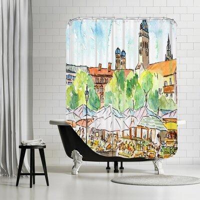 Markus Bleichner Quinto Munich Viktualienmarkt Aquarell Shower Curtain