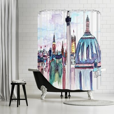 Markus Bleichner Gillispie London Skyline with Big Ben and Nelson Shower Curtain