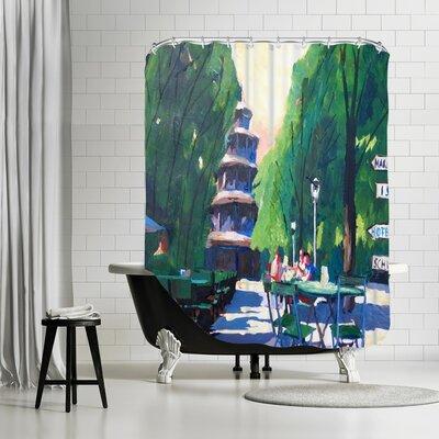 Markus Bleichner Easley Munchen Chinesischer Turm Mit Wegweiser Shower Curtain