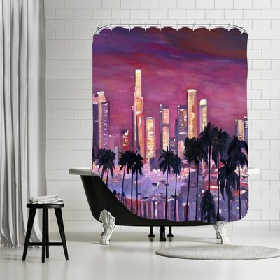 Markus Bleichner Chasteen Los Angelese Golden Skyline 3 Shower Curtain