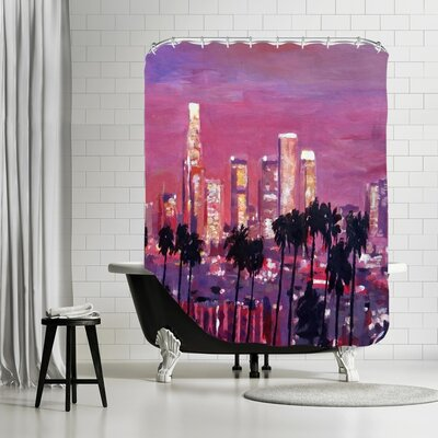 Markus Bleichner Spruill Los Angelese Golden Skyline 2 Shower Curtain
