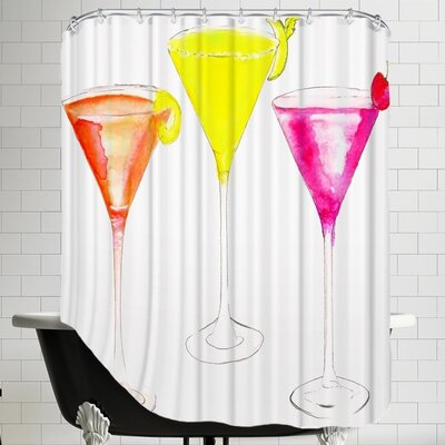 Alison B 3 Cocktail Glasses Shower Curtain