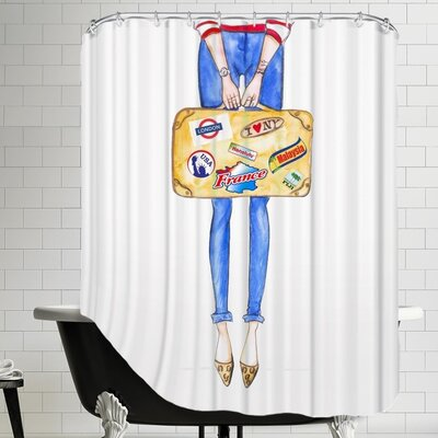 Alison B Travel Suitcase Stickers Shower Curtain