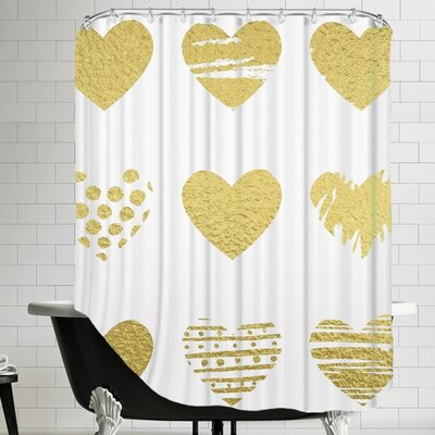 Grossular Gold Hearts Shower Curtain
