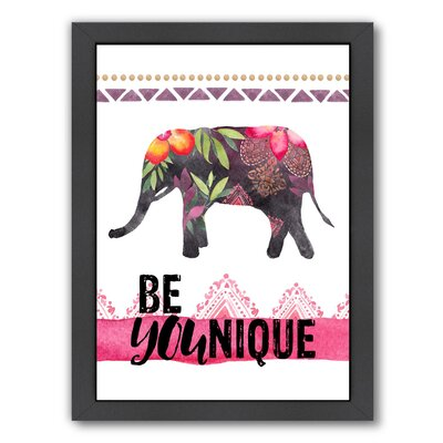 'Be YOUnique - Elephant' by Amy Brinkman Framed Graphic Art Size: 26.5