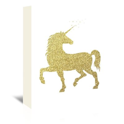 Peach & Gold Unicorn Graphic Art on Wrapped Canvas in Gold Glitter Size: 24
